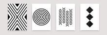 Abstract Geometric Black White Pattern Set. Vector Scandinavian Line Flat Art Design Templates. Simple Illustration Swiss Style For Wallpaper, Poster, Flyer, Banner, Home Decor