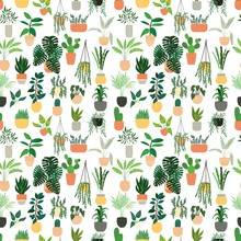 Seamless Pattern With Collection Of Hand Drawn Indoor House Plants On White Background. Collection Of Potted Plants. Colorful Flat Vector Illustration
