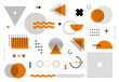 Geometric abstract elements memphis style. Set of funky bold constructivism graphics for posters, flyers. Vector yellow and black minimal shapes for modern cover design