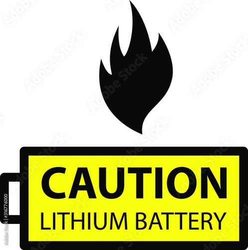 lithium ion battery Caution Wallpaper Mural