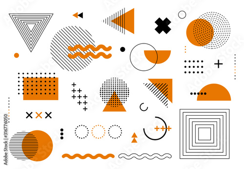 Geometric abstract elements memphis style. Set of funky bold constructivism graphics for posters, flyers. Vector yellow and black minimal shapes for modern cover design - fototapety na wymiar