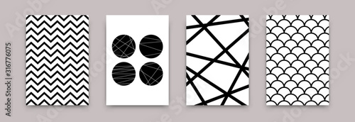 Geometric abstract black white pattern set. Vector scandinavian minimalistic art poster design templates. Simple illustration swiss style for wallpaper, flyer, banner, home decor