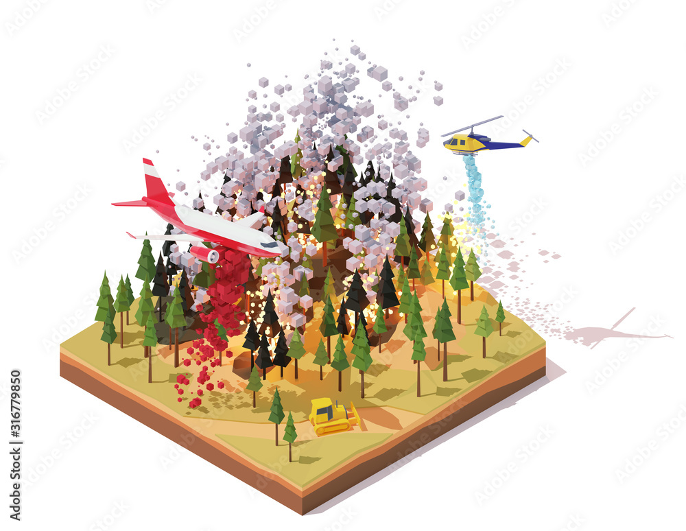 Fototapeta Vector isometric firefighting airplane and helicopter fighting wildfires. Wildfire or bushfire infographic. Airplane dropping fire retardant on trees, water bomber helicopter over burning forest