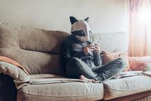Man With A Raccoon Head Costum...