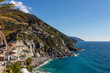 Cinque Terre Nature Reserve and small towns with vibrant colorful houses in La Spezia, Italy