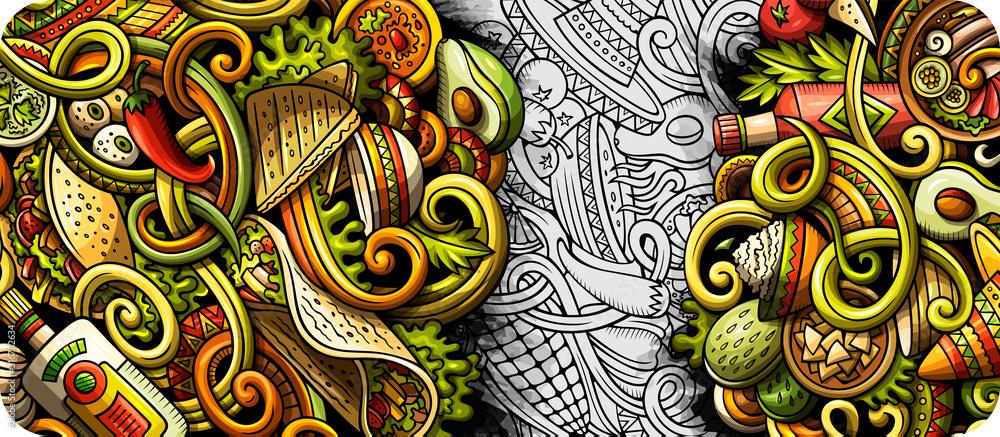 Fototapeta Mexican food hand drawn doodle banner. Cartoon detailed flyer.