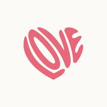 Love Typography Heart Shape Logo