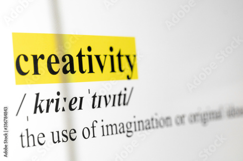 Obraz Creativity Text Macro Shot Highlighted in Yellow Color On Computer Screen - fototapety do salonu