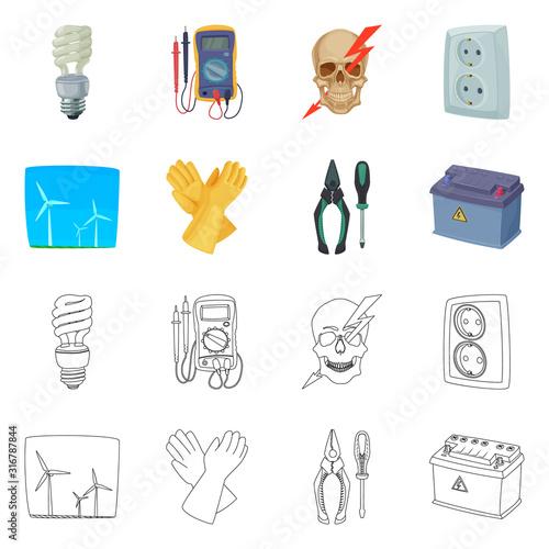 Obraz na plátně Vector design of electricity and electric icon