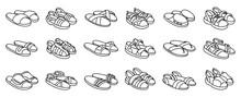 Fashion Sandal Vector Illustration Set On White Background . Summer Shoe Of Sandal Line Vector Set Icon. Isolated Line Icon Summer Footwear.