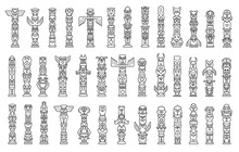 Totem Vector Line Set Icon. Vector Illustration Set Tribal Mask. Isolated Line Icon Traditional Totem On White Background .