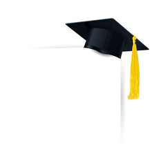 Graduate Cap With A Yellow Tassel And Diploma