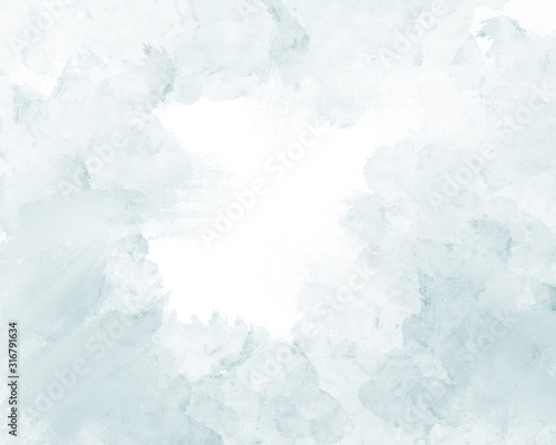 Soft gentle light blue abstract watercolor on a white background