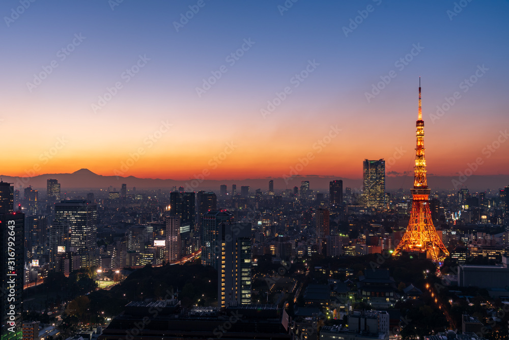Tokyo tower and skyscrapers at magic hour