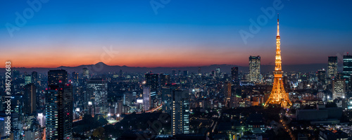 Photo Panorama image of Tokyo tower and skyscrapers at magic hour