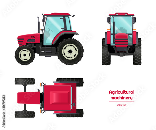 Isolated tractor. Side, front and top view of agriculture machinery. Farming vehicle in cartoon style. Industry blueprint