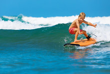 Happy Boy - Young Surfer Learn...