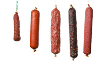 Different Hanging Sausages Iso...