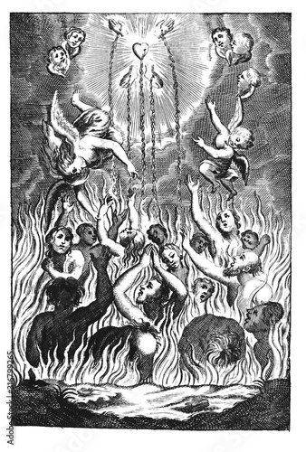 Antique vintage religious allegorical engraving or drawing of souls or people suffering in fire of hell and angels showing them way to heaven Canvas Print