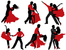 Set Of Dancing Couple Silhouet...