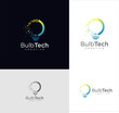 Smart bulb tech logo icon . Idea creative light bulb logo . Bulb digital logo technology Idea .Bulb Logo Design Colorfull .