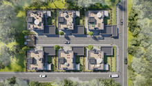 Aerial View Of A Townhouse Vil...