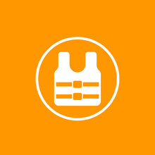 Life Jacket Icon, Vector Sign