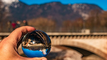 Crystal Ball Alpine Winter Shot With A Bridge At Bad Reichenhall, Bavaria, Germany