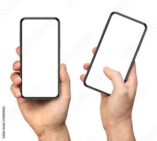 Obraz Man hand holding the black smartphone with blank screen and modern frameless design - two versions simple with vertical screen and angled with touching screen with finger - isolated on white - fototapety do salonu