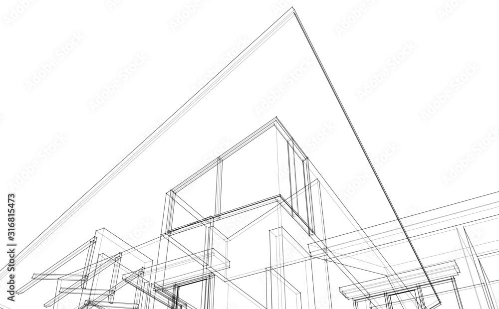 Fototapeta House building architecture concept sketch 3d illustration