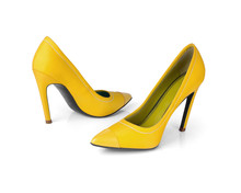 Yellow High Heel Shoes Isolated On White Background
