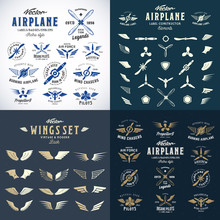 Airplane Retro Labels Construction Bundle. Plane Propellers Logos Set With Wings Symbols, Shields Icons And Decorative Elements.Vintage Style Typography And Shabby Textures.