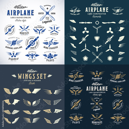 Airplane Retro Labels Construction Bundle Wallpaper Mural