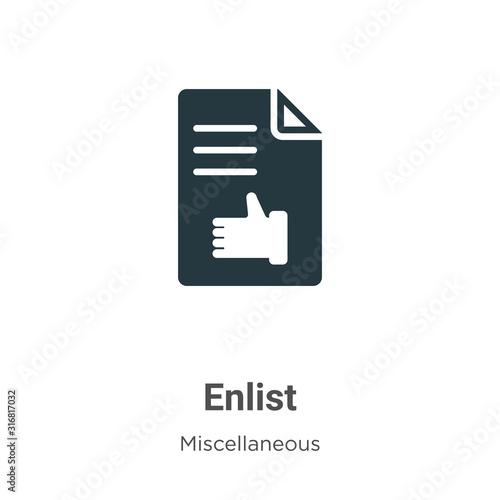 фотография Enlist glyph icon vector on white background