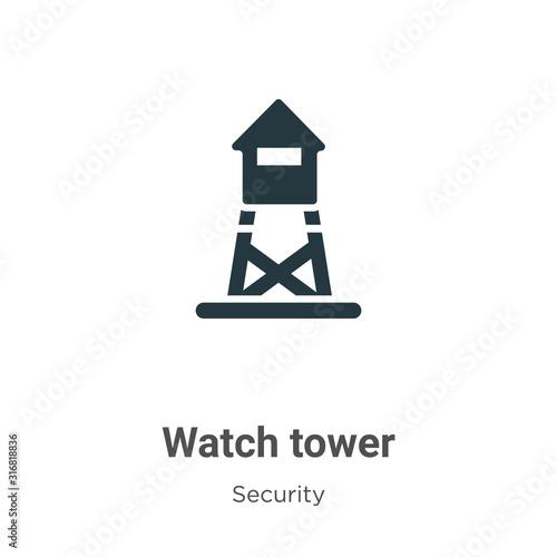 Fotografia, Obraz Watch tower glyph icon vector on white background