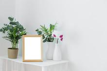 Wooden Frame On Vintage White ...