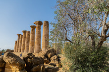 Ruined Temple Of Heracles Columns In Famous Ancient Valley Of Temples In Agrigento, Sicily, Italy.