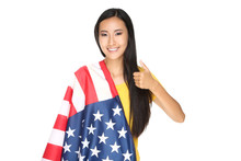 Young Woman Wrapped In America...