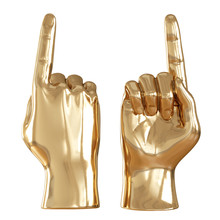 Two Golden Figures Of A Hand W...