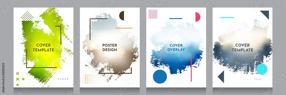 Fototapeta Vector grunge overlay. Backgrounds set. Abstract frame with Memphis pattern elements. Ink brush clipping mask. Design for flyer, banner, poster, invitation, gift card, voucher, coupon, book covers.