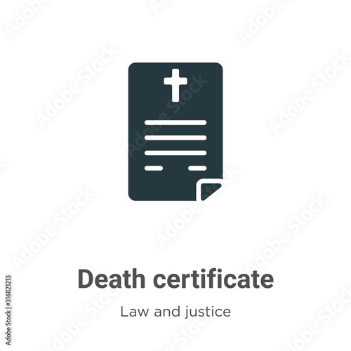 Death certificate glyph icon vector on white background Tablou Canvas