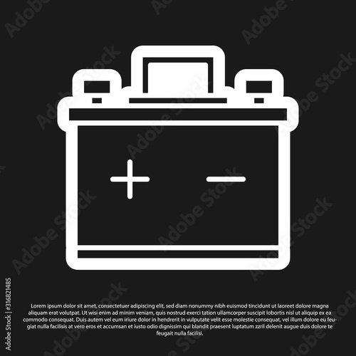 Black Car battery icon isolated on black background Canvas Print