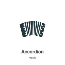Accordion Glyph Icon Vector On White Background. Flat Vector Accordion Icon Symbol Sign From Modern Music Collection For Mobile Concept And Web Apps Design.