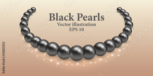 Black pearl necklace with light shiny effect and glowing sparkles Fototapete