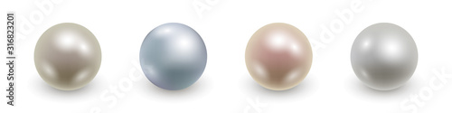 Set of realistic 3d pearls isolated. Vector illustration Fototapete