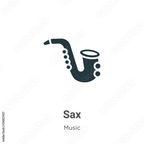 Fototapeta Sax glyph icon vector on white background
