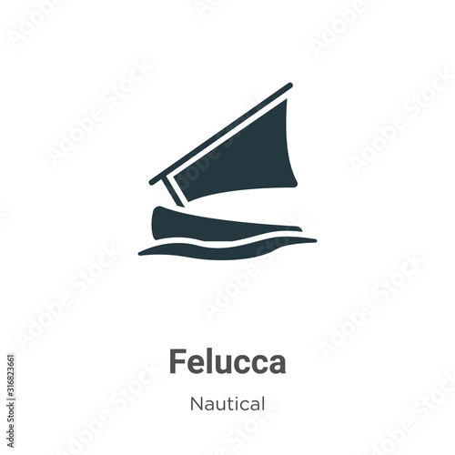 Felucca glyph icon vector on white background Canvas Print