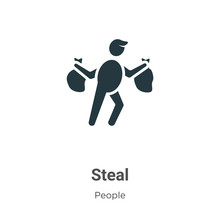 Steal Glyph Icon Vector On Whi...