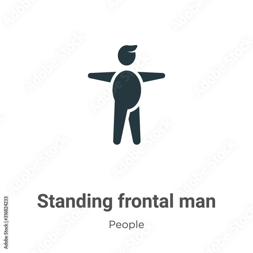 Vászonkép Standing frontal man glyph icon vector on white background