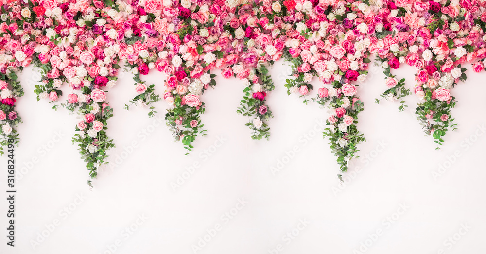 Fototapeta beautiful spring background for a banner, postcards with flowers roses peonies. Flower wall pink color